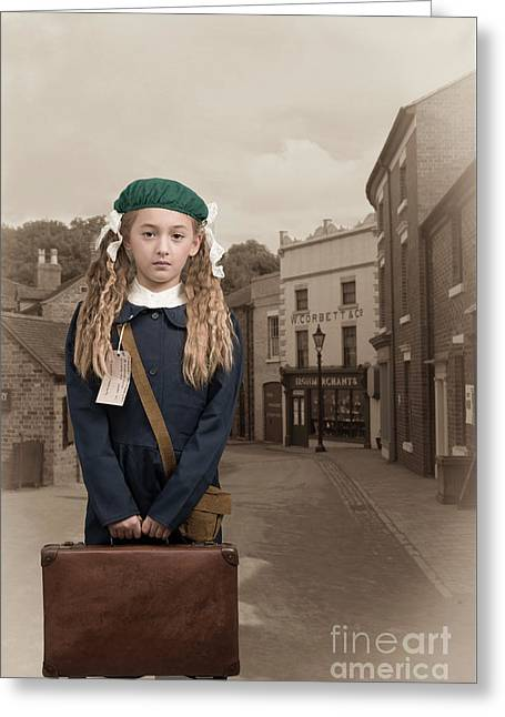 Evacuee Girl With Suitcase Greeting Card by Amanda Elwell