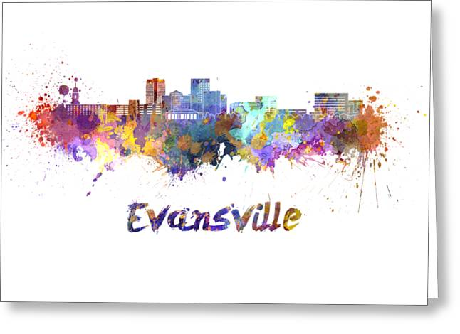 Evansville Skyline In Watercolor  Greeting Card