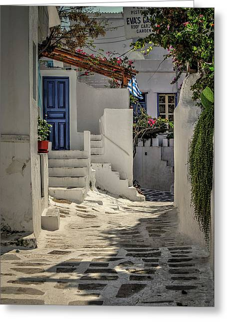 Eva's Garden Cafe Mykonos Greeting Card