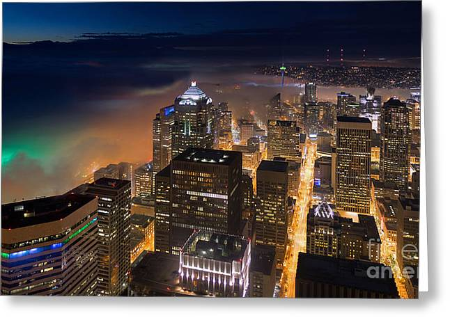 Eve Of The Superbowl In Seattle Greeting Card by Mike Reid