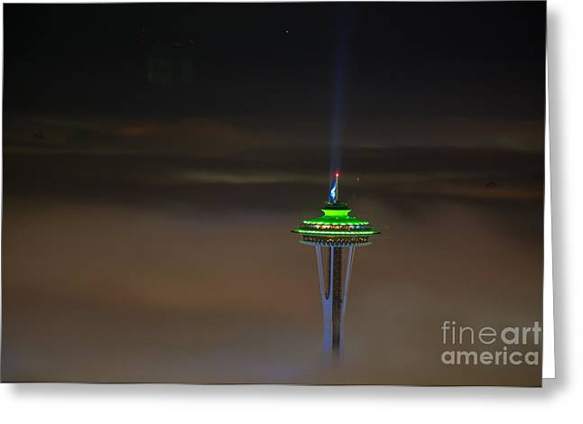 Eve Of The Superbowl Space Needle Greeting Card by Mike Reid