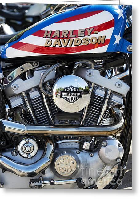 Evel Harley Davidson Greeting Card by Tim Gainey