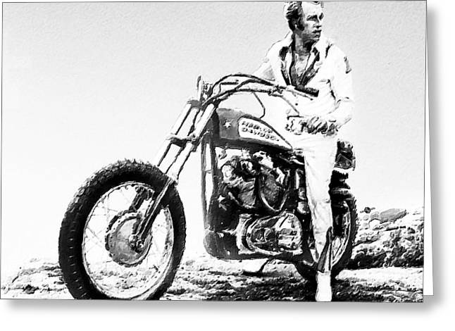 Evel Knievel Painting Black And White Greeting Card by Tony Rubino