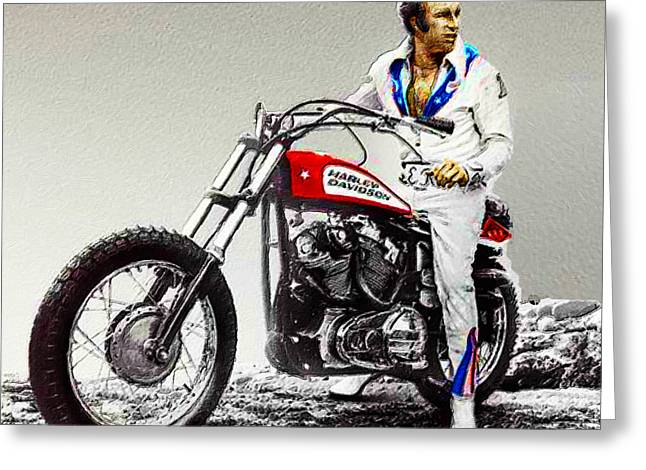 Evel Knievel Painting Full Color Large Greeting Card