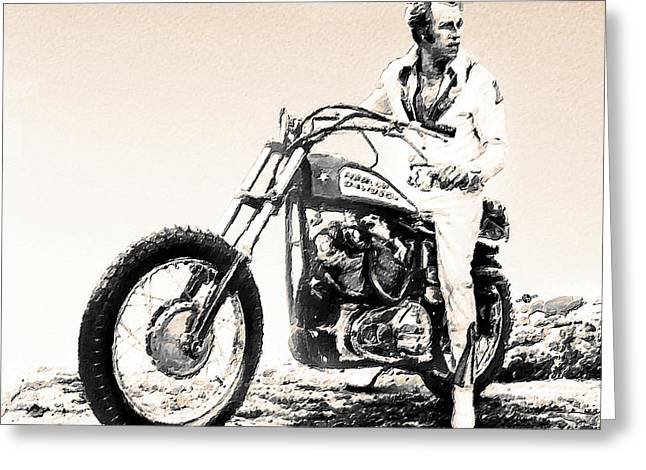 Evel Knievel Painting Sepia Greeting Card by Tony Rubino