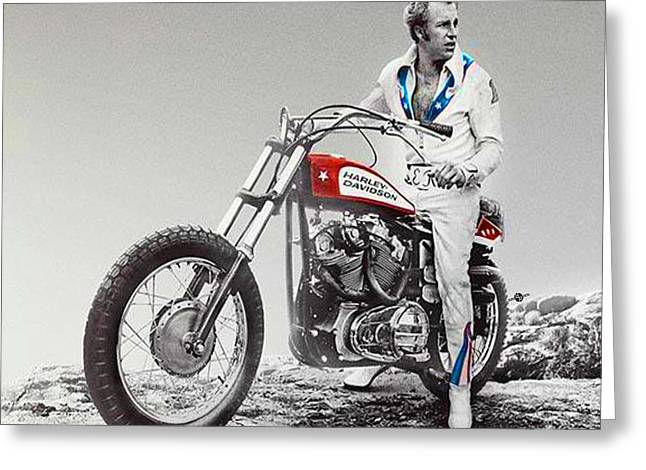 Evel Knievel Painting Spot Color Large Greeting Card by Tony Rubino