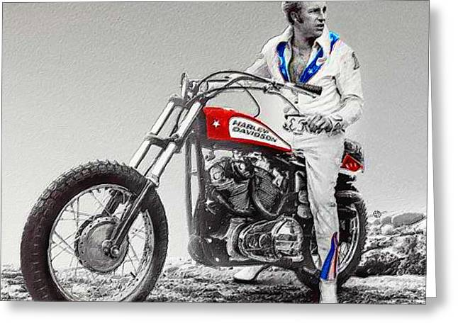 Evel Knievel Painting Spot Color Small Greeting Card by Tony Rubino