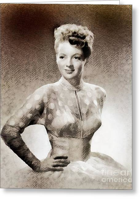 Evelyn Keyes, Vintage Actress By John Springfield Greeting Card