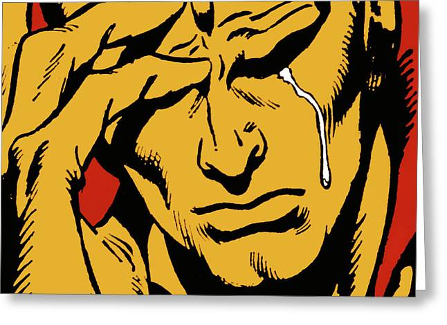 Comic Strip Greeting Cards - Even An Android Can Cry Greeting Card by Brian Middleton