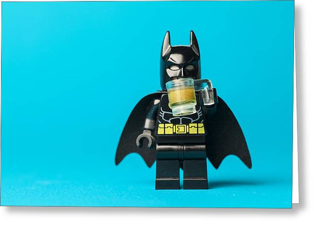 Even Batman Needs A Beer Greeting Card by Samuel Whitton