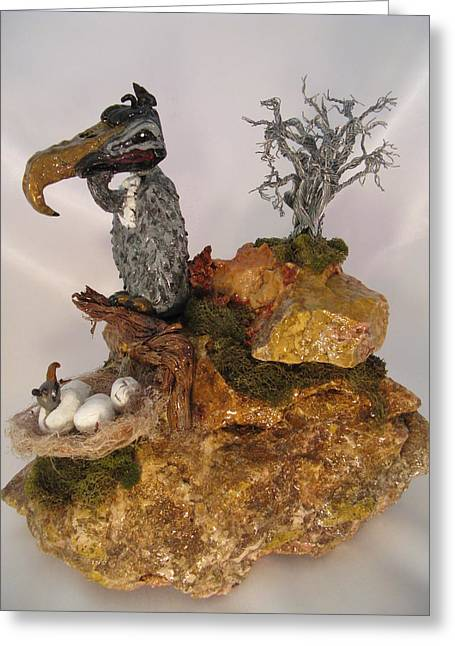 Southwestern Sculpture Ceramics Greeting Cards - Even Vultures Can Love Greeting Card by Judy Byington
