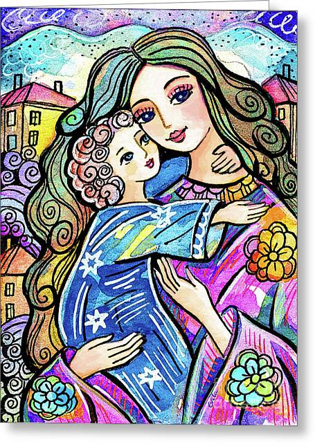 Greeting Card featuring the painting Evening Angel by Eva Campbell