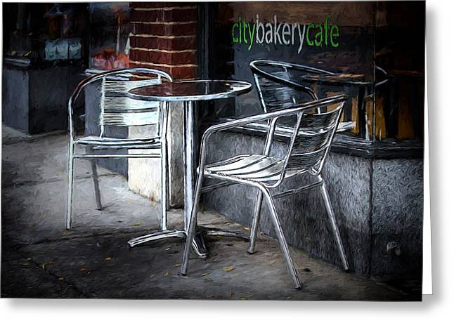 Evening At A Sidewalk Cafe Greeting Card