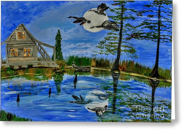 Evening At Acadiana Pond Greeting Card