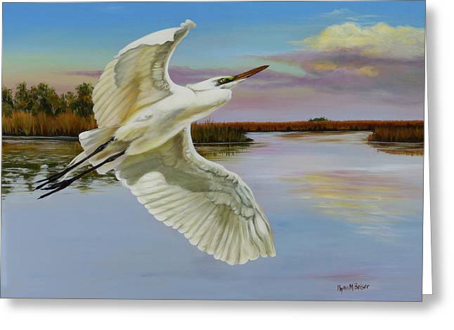 Evening At Campbell's Bayou Greeting Card by Phyllis Beiser