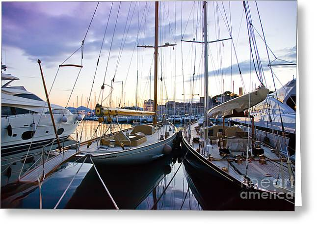 Greeting Card featuring the photograph Evening At Harbor  by Ariadna De Raadt