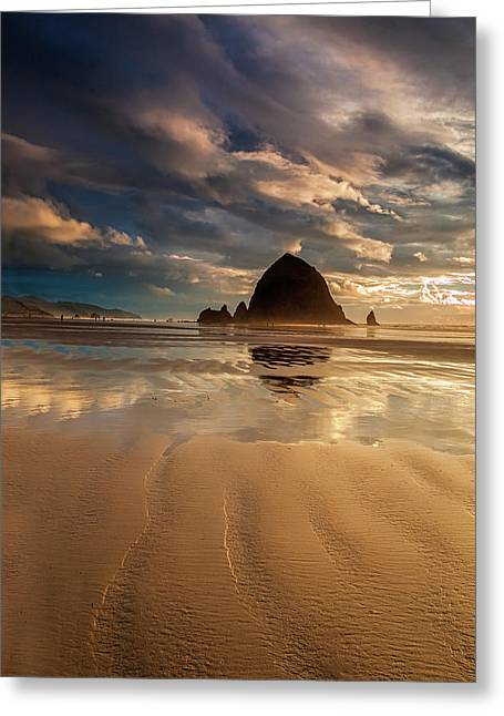 Evening At Haystack Rock Greeting Card by Andrew Soundarajan