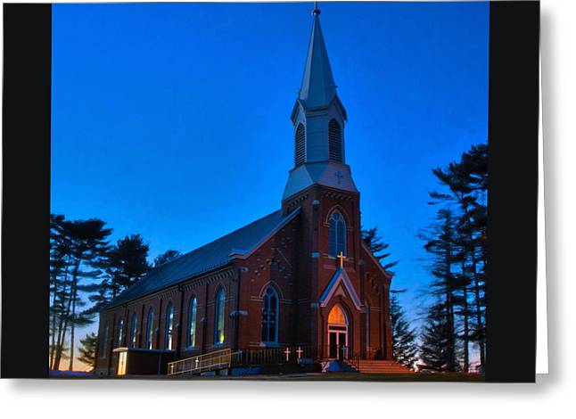 Evening At Holy Family Greeting Card by Kevin Schuchmann