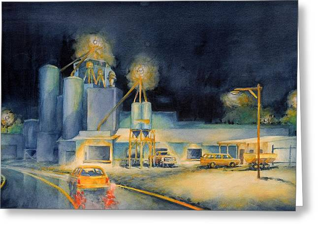 Evening At Lindner Feed And Mill Greeting Card by Virgil Carter
