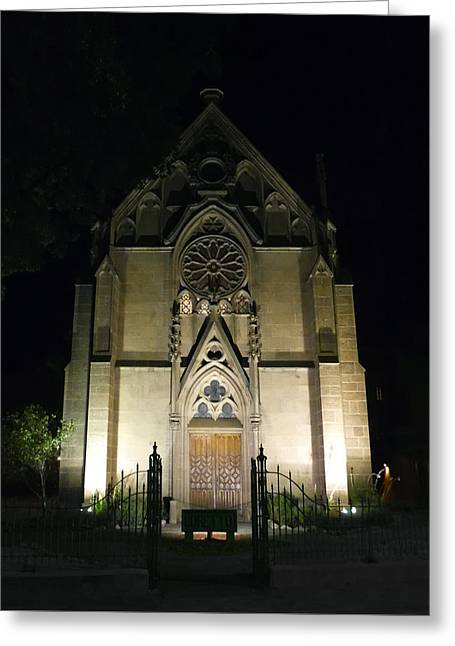 Evening At Loretto Chapel Santa Fe Greeting Card by Kurt Van Wagner