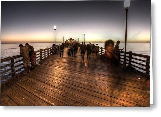 Evening At Oceanside Pier Greeting Card