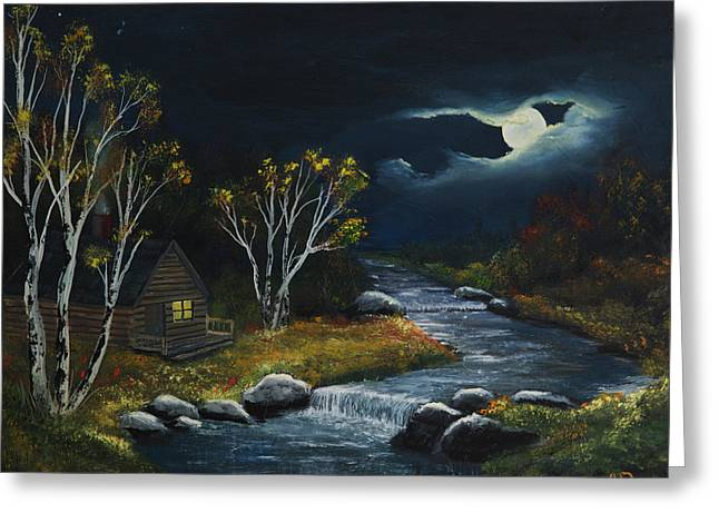 Evening At The Cabin Greeting Card by John Reid
