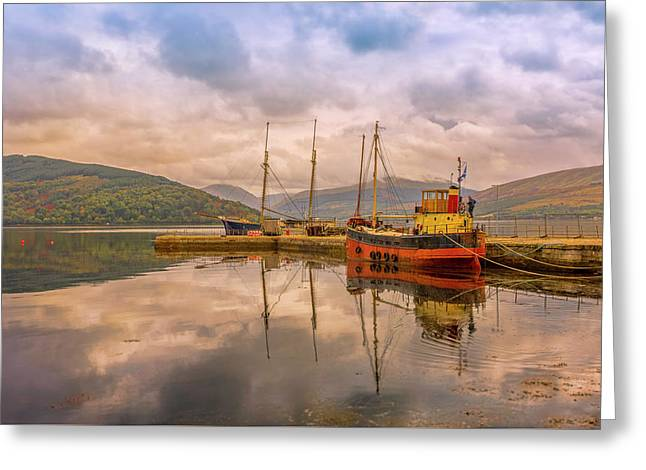 Evening At The Dock Greeting Card by Roy McPeak
