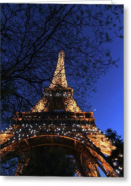 Greeting Card featuring the photograph Evening At The Eiffel Tower by Heidi Hermes