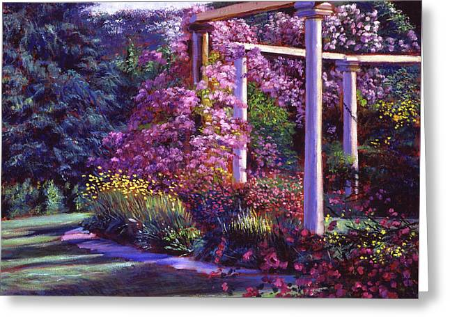 Evening At The Elegant Garden Greeting Card by David Lloyd Glover