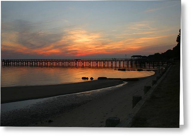 Evening At The Hilton Pier  Greeting Card