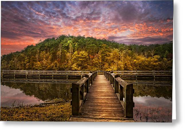 Evening At The Lake Greeting Card by Debra and Dave Vanderlaan