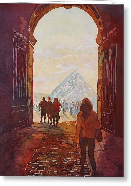 Evening At The Louvre Greeting Card by Jenny Armitage