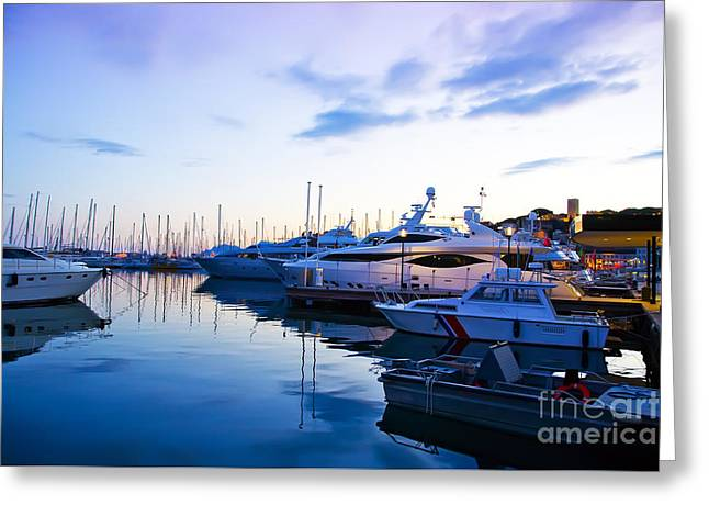 evening at water in Cannes Greeting Card