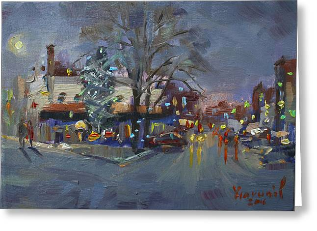 Evening At Webster And Main St Greeting Card