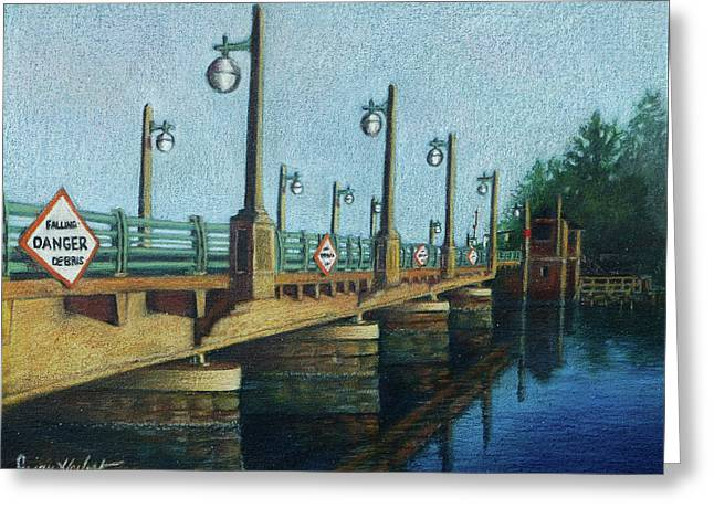 Greeting Card featuring the painting Evening, Bayville Bridge by Susan Herbst