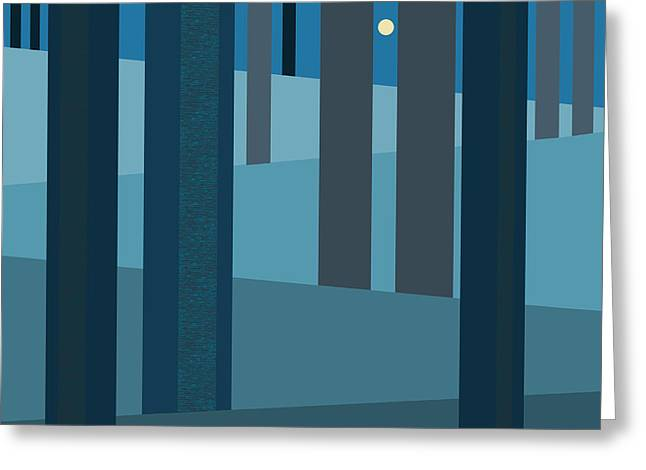 Evening Blues - Abstract Trees Greeting Card