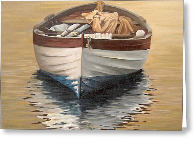 Greeting Card featuring the painting Evening Boat by Natalia Tejera