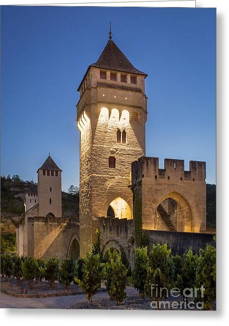 Evening Bridge - Cahors Greeting Card by Brian Jannsen