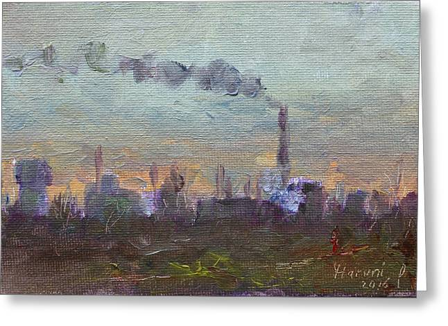 Evening By Industrial Site Greeting Card