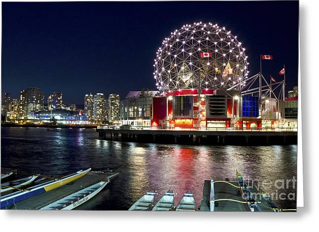 Evening By Science World Vancouver Greeting Card
