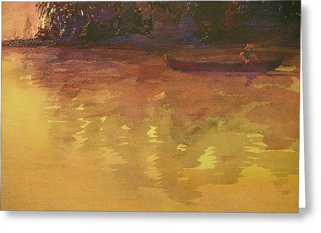 Evening Canoe Ride Greeting Card by Walt Maes