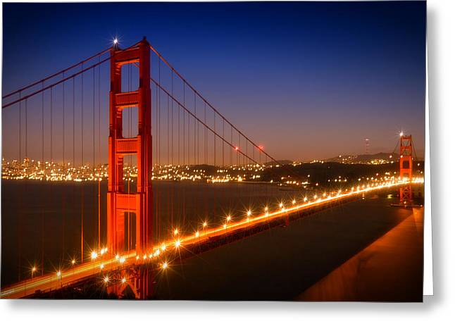 Evening Cityscape Of Golden Gate Bridge  Greeting Card by Melanie Viola