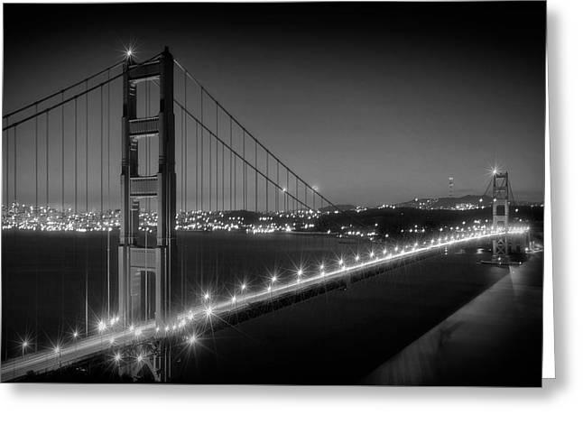 Evening Cityscape Of Golden Gate Bridge Monochrome Greeting Card by Melanie Viola