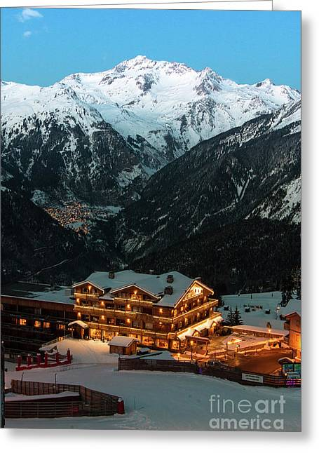 Evening Comes In Courchevel Greeting Card