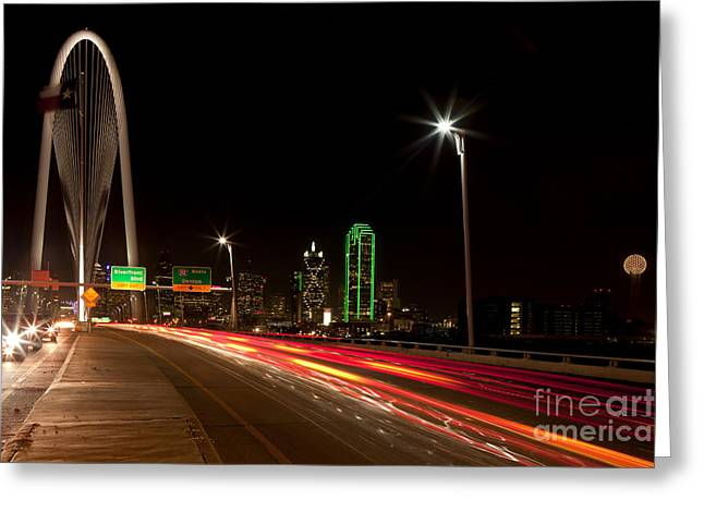 Evening Commute On The Margaret Hunt Hill Bridge In Downtown Dallas Greeting Card
