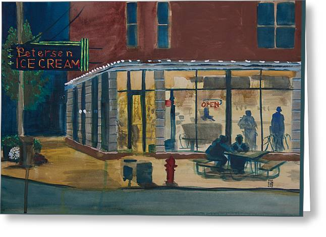 Evening Conversations At Petersen's Ice Cream Greeting Card by Ted Gordon