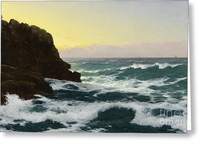 Evening Cornish Coast Greeting Card by Celestial Images