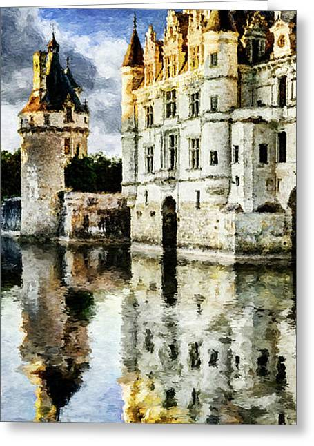 Evening Falls At The Castle Greeting Card