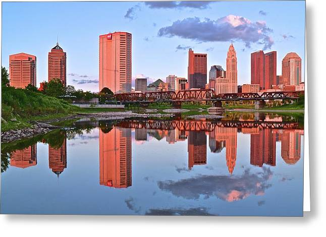 Evening Falls In Columbus Greeting Card