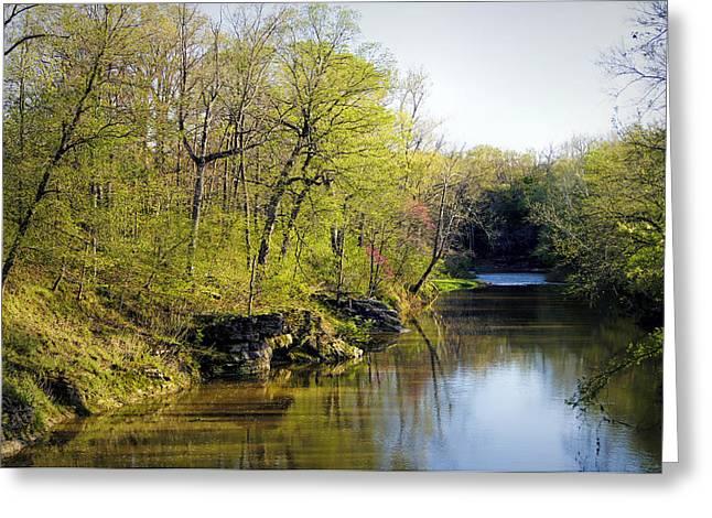 Evening Falls On Cedar Creek Greeting Card